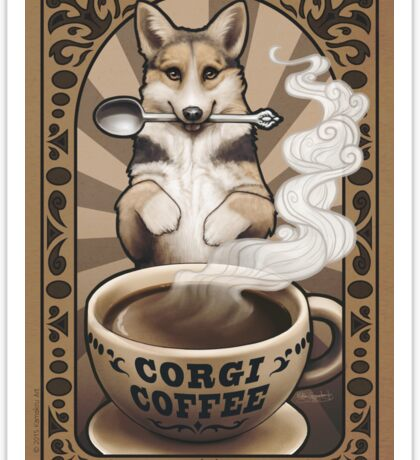 Corgi Coffee Sticker