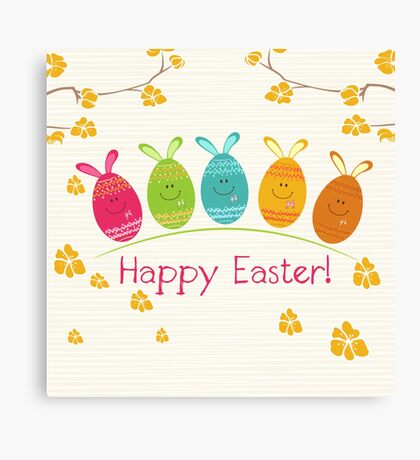 Cute Adorable Cartoon Easter Egg Bunnies and Flowers Happy Easter Canvas Print