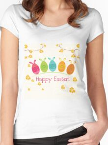 Cute Adorable Cartoon Easter Egg Bunnies and Flowers Happy Easter Women's Fitted Scoop T-Shirt