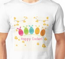 Cute Adorable Cartoon Easter Egg Bunnies and Flowers Happy Easter Unisex T-Shirt