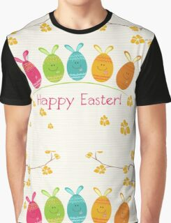 Cute Adorable Cartoon Easter Egg Bunnies and Flowers Happy Easter Graphic T-Shirt
