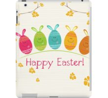Cute Adorable Cartoon Easter Egg Bunnies and Flowers Happy Easter iPad Case/Skin