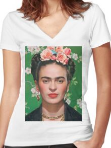 Frida Kahlo Women's Fitted V-Neck T-Shirt