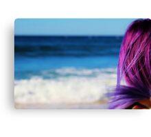 Blue Ocean & Purple Hair Canvas Print