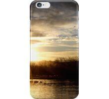 SETTING SUN AT LAKE iPhone Case/Skin