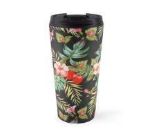 Black Floral print Travel Mug