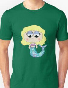 Cute Blonde Haired Mermaid Cartoon Character Unisex T-Shirt