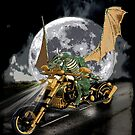 Drag-racing Dragon and Moon Fantasy Artwork  by NaturePrints