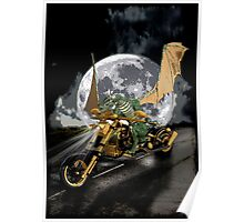 Drag-racing Dragon and Moon Fantasy Artwork  Poster
