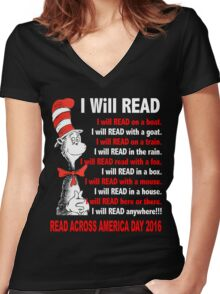 I Will Read - Read Across America Day 2016 Women's Fitted V-Neck T-Shirt