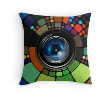 Colorful Camera Lens Throw Pillow
