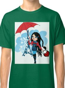 Nice french girl with umbrella Classic T-Shirt