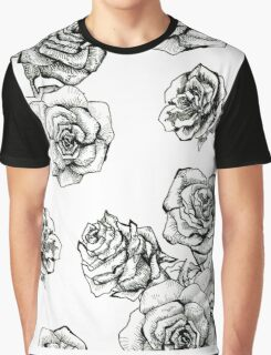 Flower roses graphic black and white  had drawing sketch Graphic T-Shirt