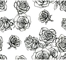 Flower roses graphic black and white  had drawing sketch Photographic Print