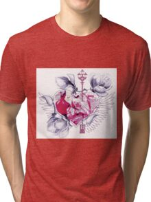 Abstract mix with heart with wings Tri-blend T-Shirt