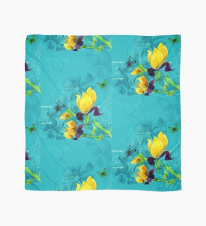 Yellow flowers on turquoise background Scarf