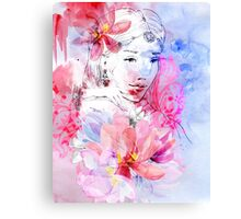 Beautiful girl with a bouquet of flowers Canvas Print
