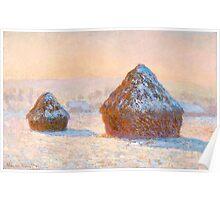 1891-Claude Monet-Wheatstacks, Snow Effect, Morning-65 x 100 Poster