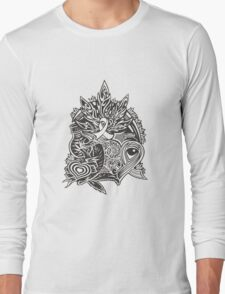 Cannabis doodle artwork Long Sleeve T-Shirt