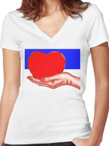 HEART IN HAND Women's Fitted V-Neck T-Shirt