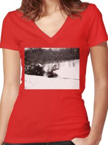 SNOW SCENE 6 Women's Fitted V-Neck T-Shirt