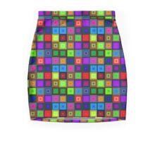 Crystal  neon bright  seamless square pattern Mini Skirt