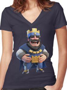 Blue King Clash Royale Art Women's Fitted V-Neck T-Shirt