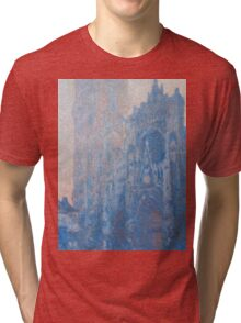 1894-Claude Monet-Rouen Cathedral Façade and Tour d'Albane (Morning Effect)-74 x 106 Tri-blend T-Shirt