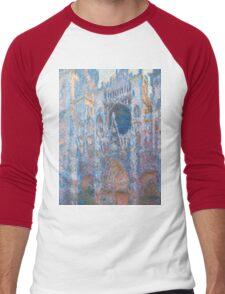 1894-Claude Monet-Rouen Cathedral, West Façade-65 x 100 Men's Baseball ¾ T-Shirt