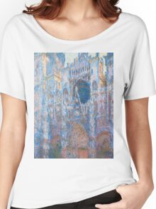 1894-Claude Monet-Rouen Cathedral, West Façade-65 x 100 Women's Relaxed Fit T-Shirt