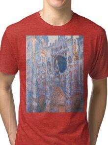 1894-Claude Monet-Rouen Cathedral, West Façade-65 x 100 Tri-blend T-Shirt