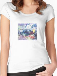 Gold Triangle - Original Wall Modern Abstract Art Painting Women's Fitted Scoop T-Shirt
