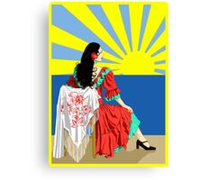 spanish flamenco dancer at sunset Canvas Print