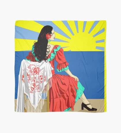 spanish flamenco dancer at sunset Scarf