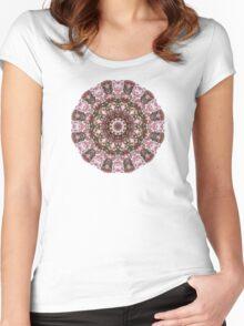 Spring pink blossoms 009s, Nature Flower mandala-style (Frühlingsblueten) Women's Fitted Scoop T-Shirt