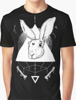 Lunar Hare Ink Illustration | Dark Version Graphic T-Shirt