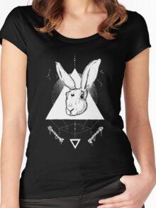 Lunar Hare Ink Illustration | Dark Version Women's Fitted Scoop T-Shirt