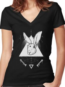Lunar Hare Ink Illustration | Dark Version Women's Fitted V-Neck T-Shirt