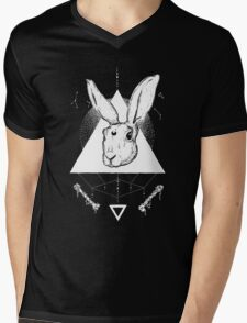 Lunar Hare Ink Illustration | Dark Version Mens V-Neck T-Shirt
