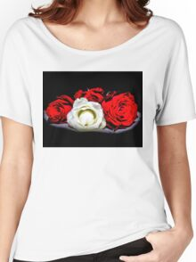 Red and White Roses Women's Relaxed Fit T-Shirt