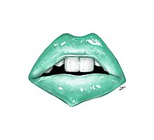 Coloured Pencil Lips (Green/Blue) Photographic Print