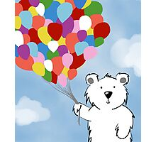 Teddy Bear with Balloons Photographic Print