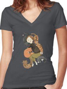 Cat Love Women's Fitted V-Neck T-Shirt