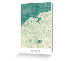 Havana Map Blue Vintage Greeting Card