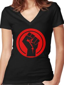 Red Socialist Fist Women's Fitted V-Neck T-Shirt