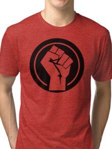 Black Socialist Fist Tri-blend T-Shirt