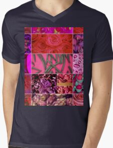 Floral Food Abstract Collage Mens V-Neck T-Shirt