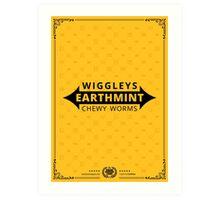Wiggleys' Earthmint Chewy Worms Gold Tee/Yellow Poster Art Print