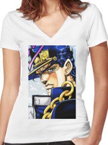 """Jotaro JoJo's Bizarre Adventure"" Women's Fitted V-Neck T-Shirt"