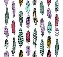 feathers, minimal, hand drawn, children, nursery, baby, kids, gender neutral ,andrea lauren, print, patter, feather and arrow, arrow, feather,   Photographic Print